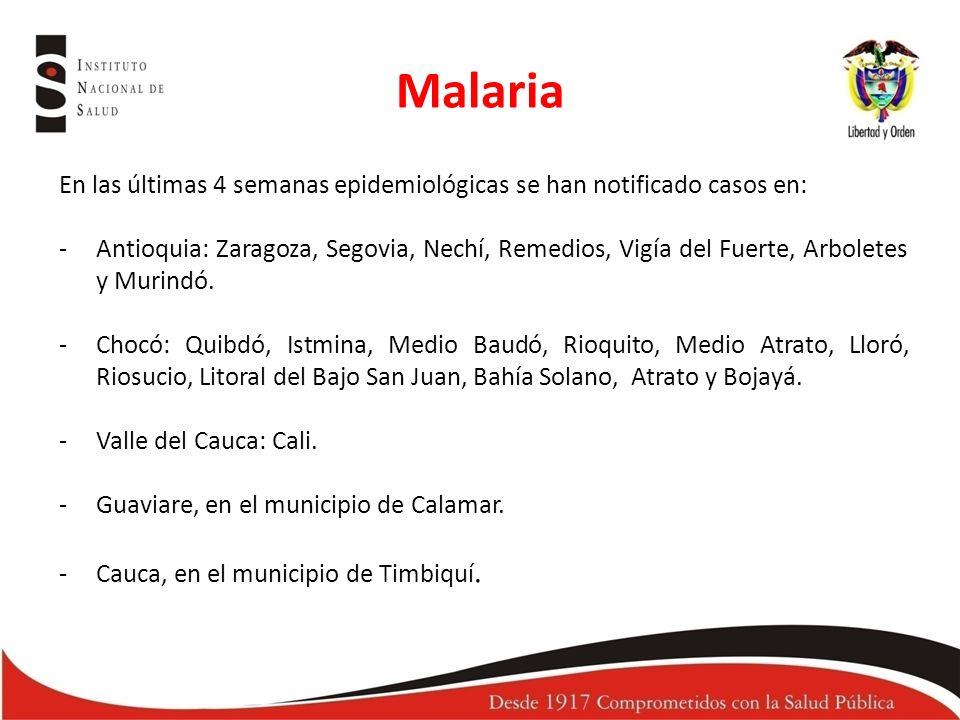 Malaria En las últimas 4 semanas epidemiológicas se han notificado casos en: