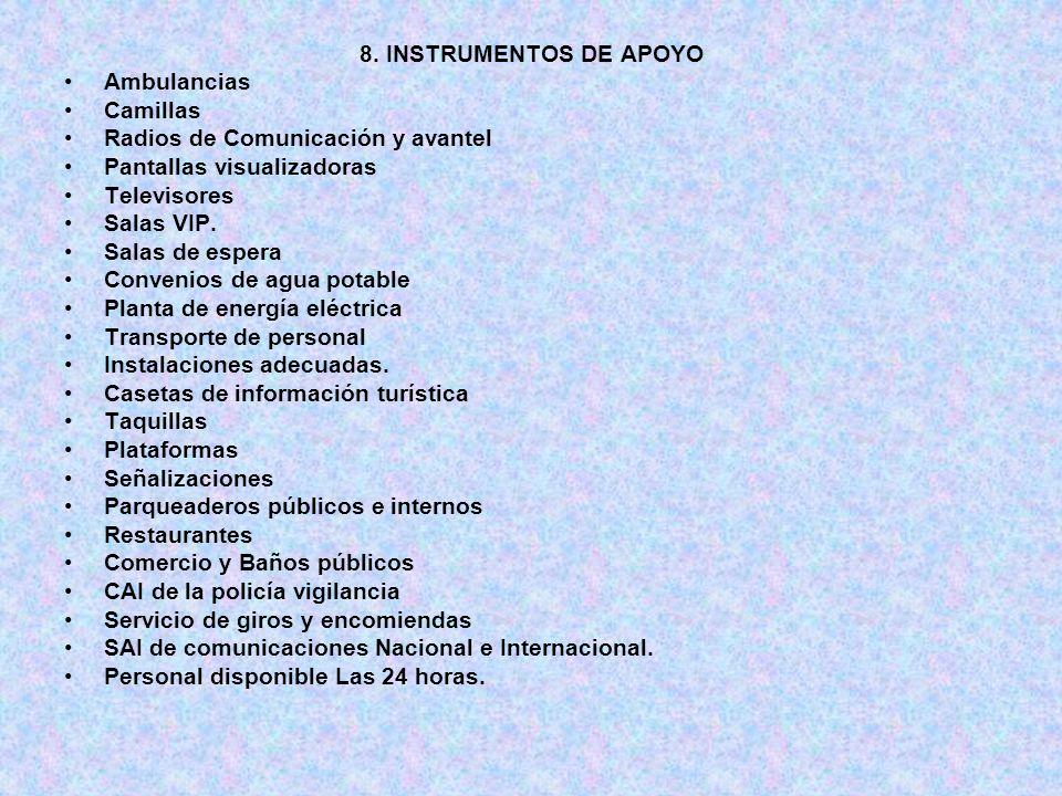 8. INSTRUMENTOS DE APOYO Ambulancias. Camillas. Radios de Comunicación y avantel. Pantallas visualizadoras.