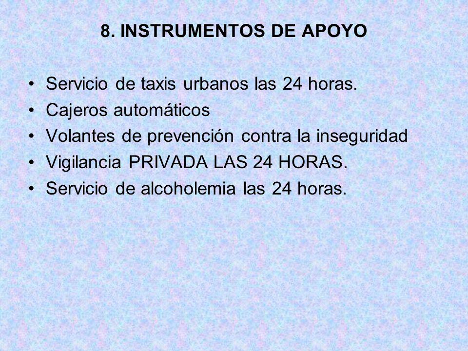 8. INSTRUMENTOS DE APOYO Servicio de taxis urbanos las 24 horas. Cajeros automáticos. Volantes de prevención contra la inseguridad.