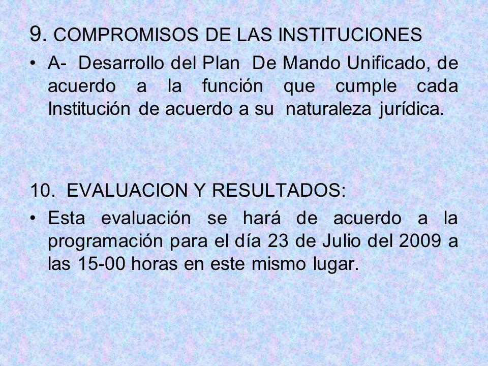 9. COMPROMISOS DE LAS INSTITUCIONES