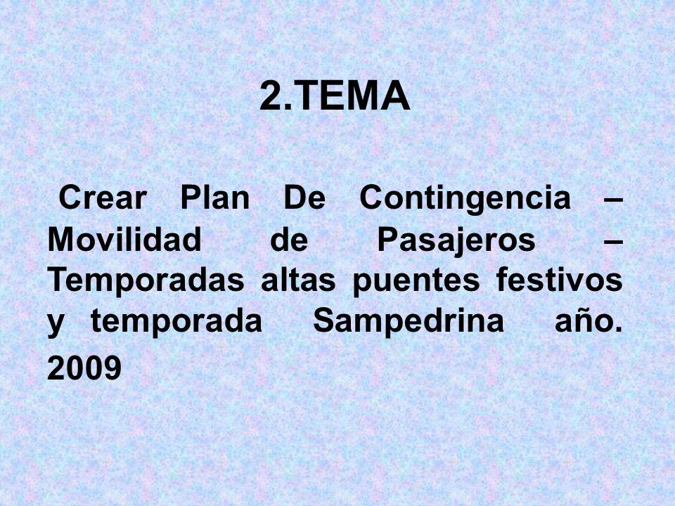 2.TEMA Crear Plan De Contingencia – Movilidad de Pasajeros – Temporadas altas puentes festivos y temporada Sampedrina año.