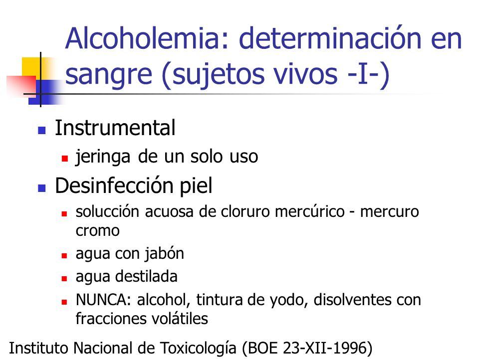 Alcoholemia: determinación en sangre (sujetos vivos -I-)