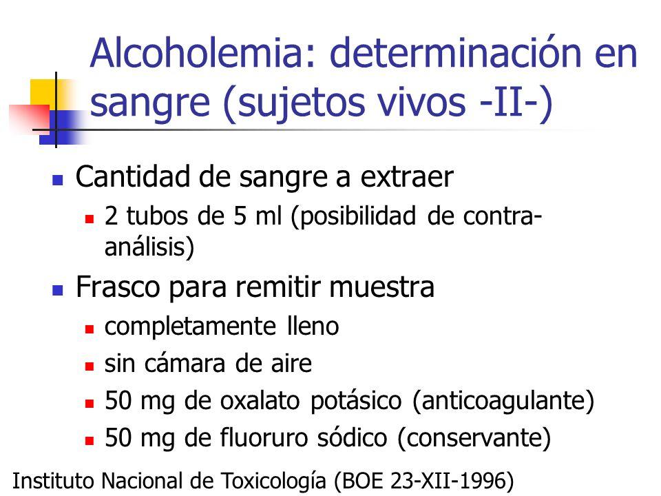 Alcoholemia: determinación en sangre (sujetos vivos -II-)