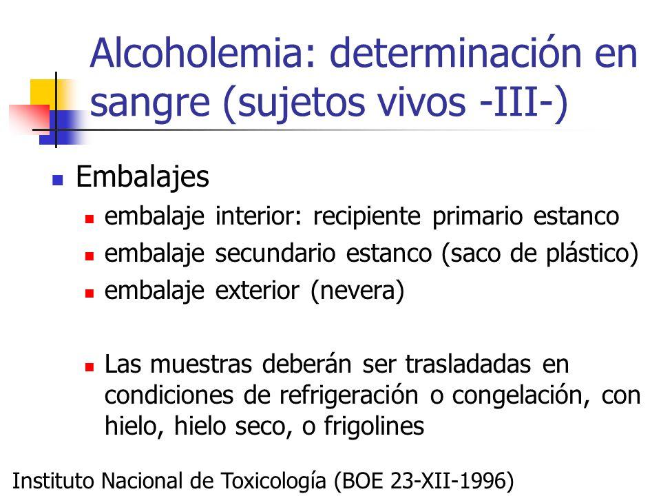 Alcoholemia: determinación en sangre (sujetos vivos -III-)