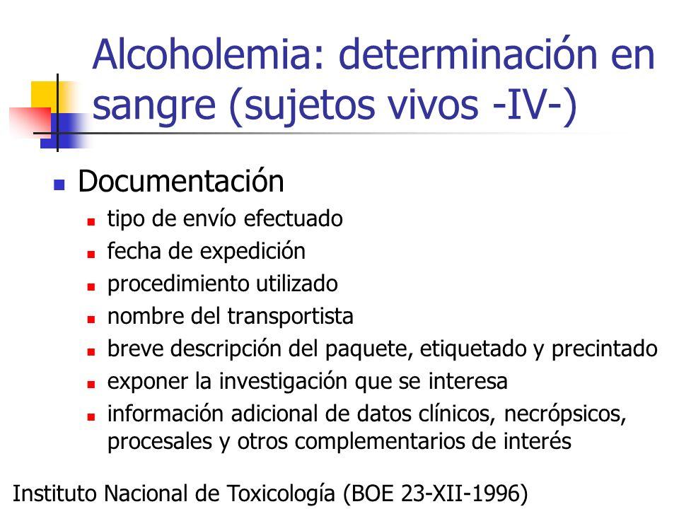 Alcoholemia: determinación en sangre (sujetos vivos -IV-)