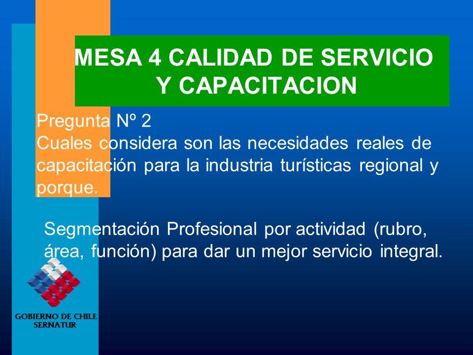 MESA 4 CALIDAD DE SERVICIO Y CAPACITACION