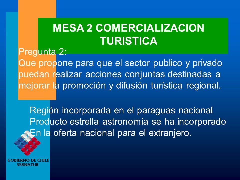 MESA 2 COMERCIALIZACION TURISTICA
