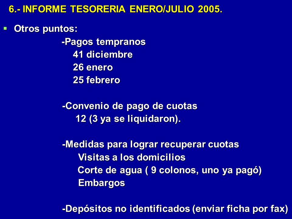 6.- INFORME TESORERIA ENERO/JULIO 2005.