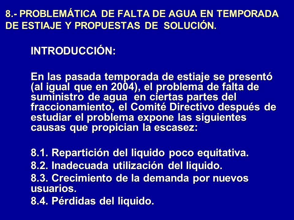 8.1. Repartición del liquido poco equitativa.