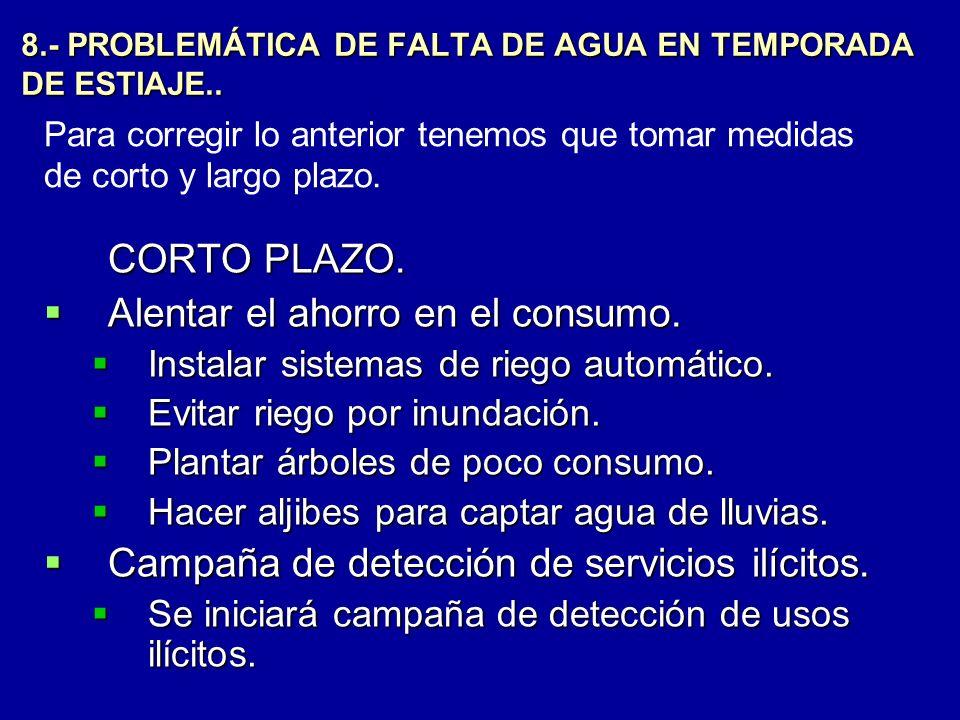 8.- PROBLEMÁTICA DE FALTA DE AGUA EN TEMPORADA DE ESTIAJE..