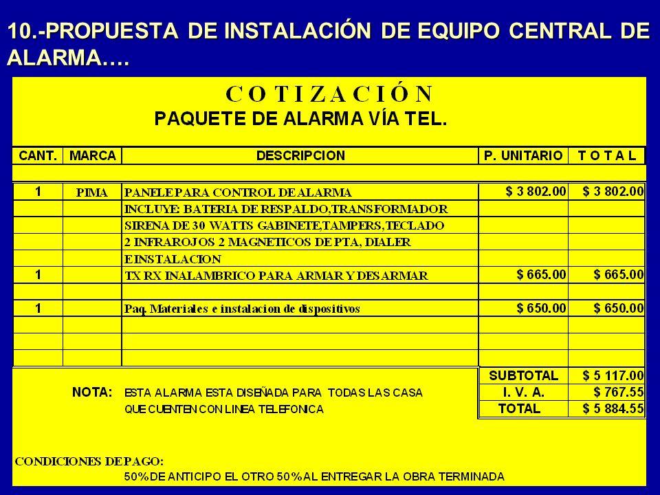 10.-PROPUESTA DE INSTALACIÓN DE EQUIPO CENTRAL DE ALARMA….