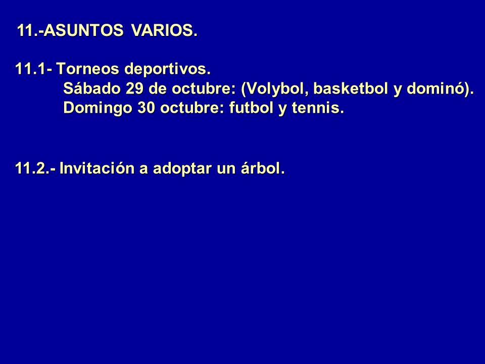 11.-ASUNTOS VARIOS. 11.1- Torneos deportivos. Sábado 29 de octubre: (Volybol, basketbol y dominó). Domingo 30 octubre: futbol y tennis.
