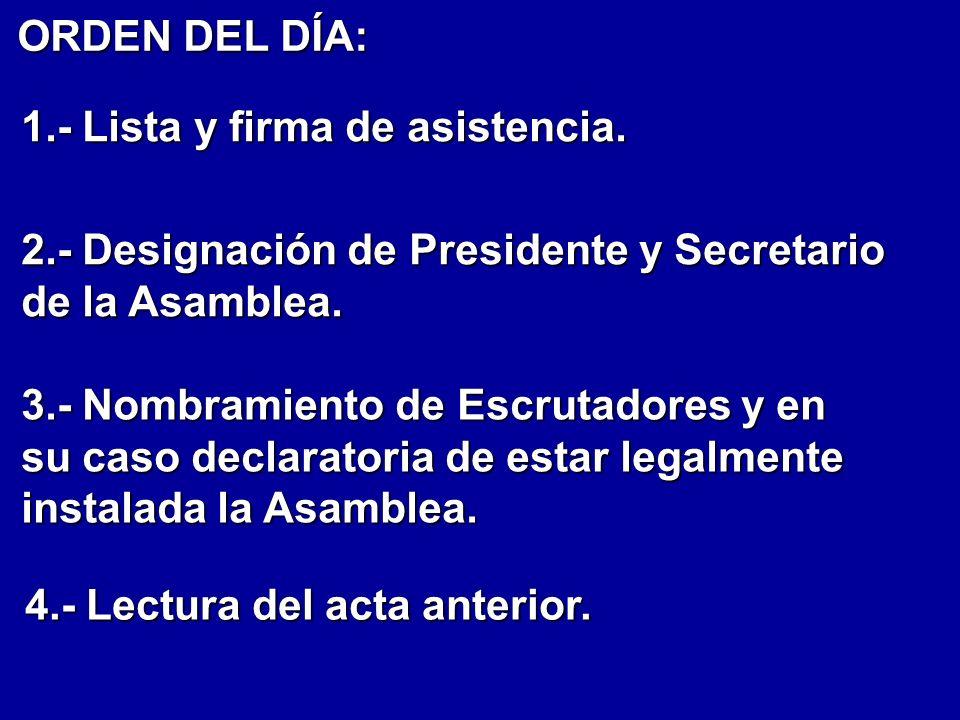 ORDEN DEL DÍA: 1.- Lista y firma de asistencia. 2.- Designación de Presidente y Secretario de la Asamblea.
