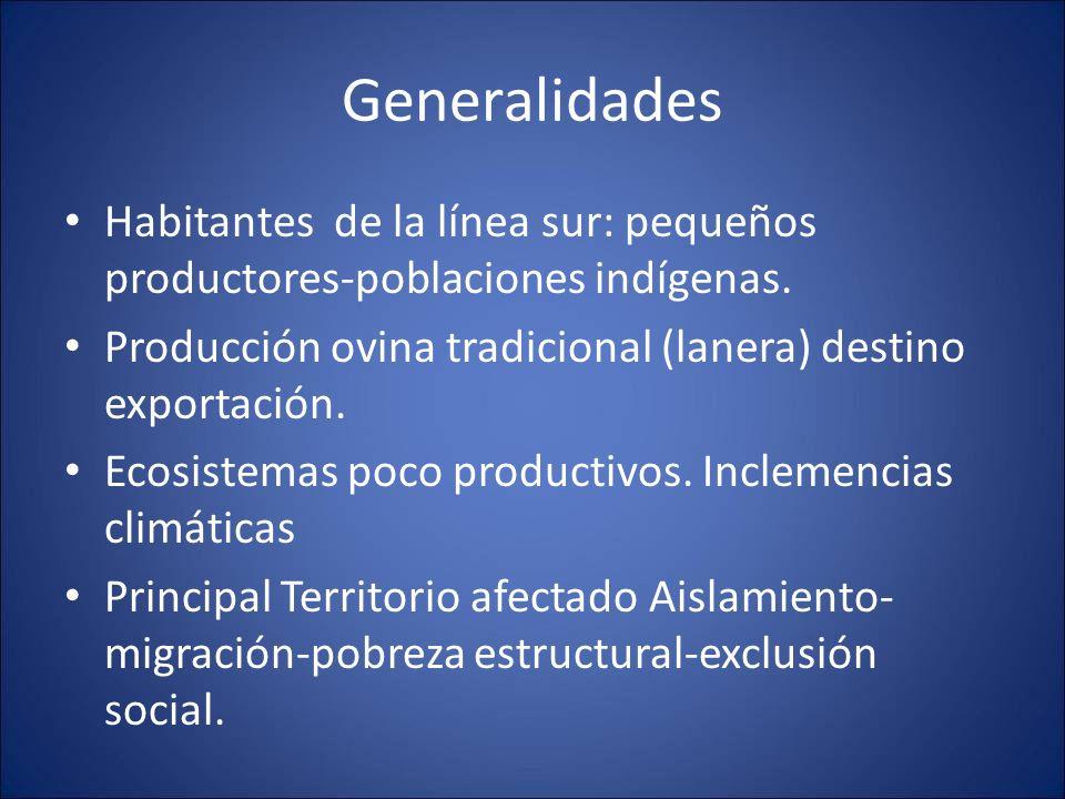 Generalidades Habitantes de la línea sur: pequeños productores-poblaciones indígenas. Producción ovina tradicional (lanera) destino exportación.