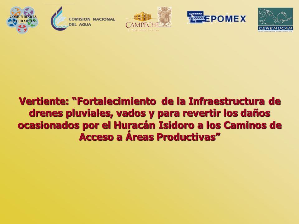 Vertiente: Fortalecimiento de la Infraestructura de drenes pluviales, vados y para revertir los daños ocasionados por el Huracán Isidoro a los Caminos de Acceso a Áreas Productivas