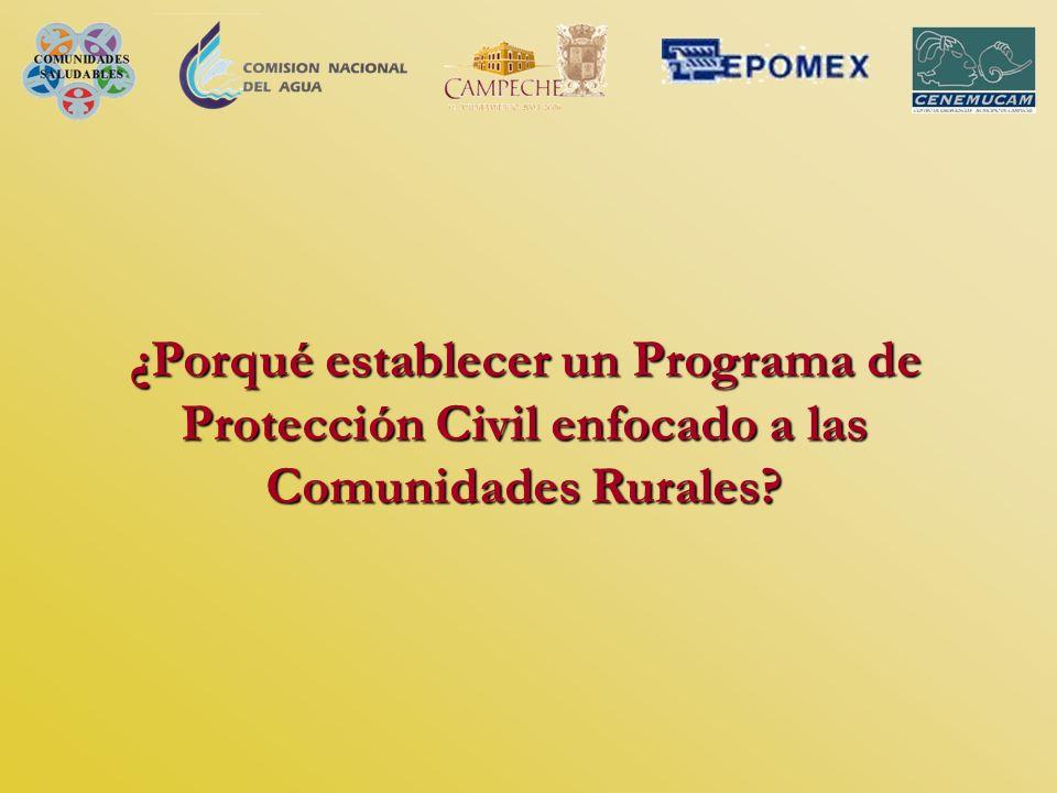 ¿Porqué establecer un Programa de Protección Civil enfocado a las Comunidades Rurales