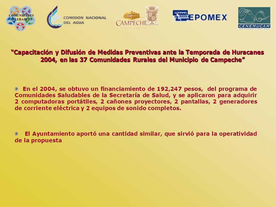 Capacitación y Difusión de Medidas Preventivas ante la Temporada de Huracanes 2004, en las 37 Comunidades Rurales del Municipio de Campeche