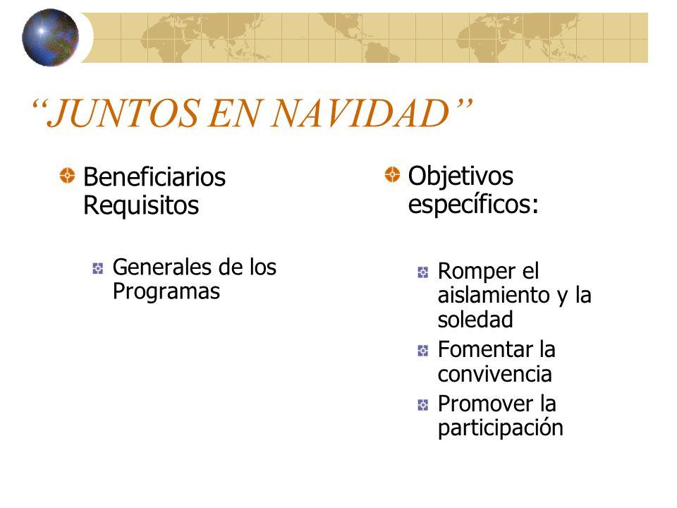 JUNTOS EN NAVIDAD Beneficiarios Requisitos Objetivos específicos: