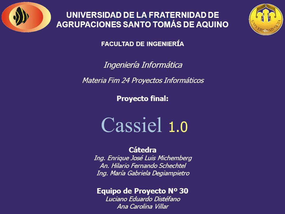 Carátula UNIVERSIDAD DE LA FRATERNIDAD DE AGRUPACIONES SANTO TOMÁS DE AQUINO. FACULTAD DE INGENIERÍA.
