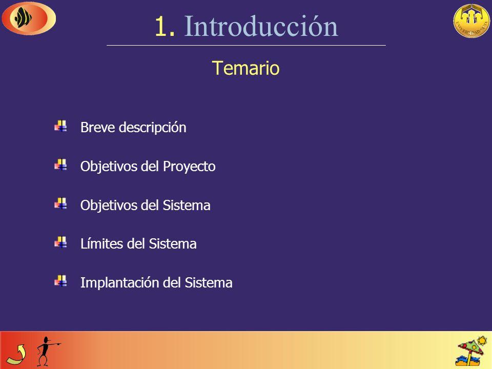 1. Introducción Temario Breve descripción Objetivos del Proyecto