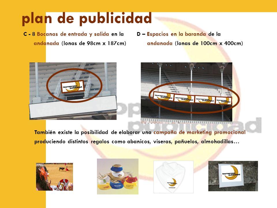plan de publicidad C - 8 Bocanas de entrada y salida en la andanada (lonas de 98cm x 187cm)