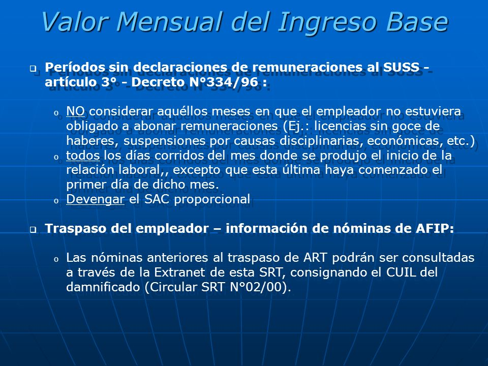 Valor Mensual del Ingreso Base