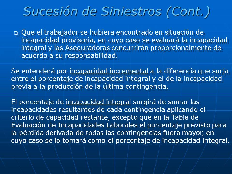 Sucesión de Siniestros (Cont.)