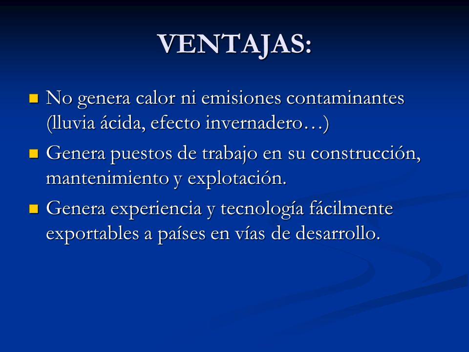 VENTAJAS: No genera calor ni emisiones contaminantes (lluvia ácida, efecto invernadero…)