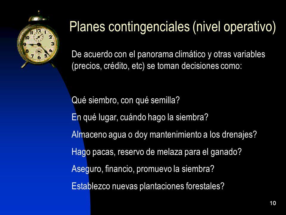 Planes contingenciales (nivel operativo)