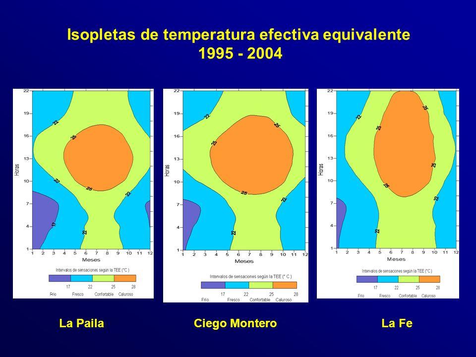 Isopletas de temperatura efectiva equivalente 1995 - 2004