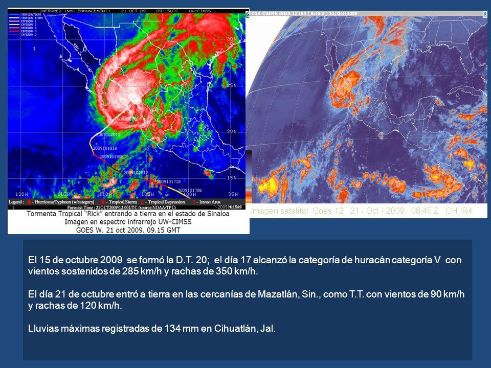 Lluvias máximas registradas de 134 mm en Cihuatlán, Jal.