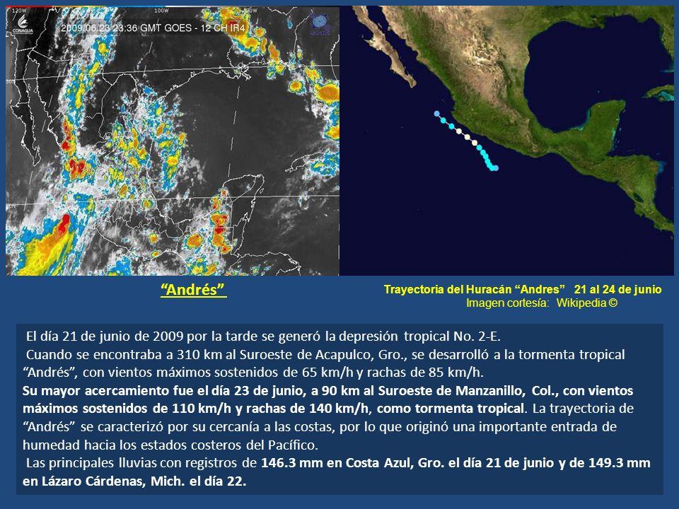 Andrés Trayectoria del Huracán Andres 21 al 24 de junio. Imagen cortesía: Wikipedia ©