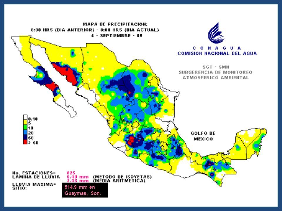 514.9 mm en Guaymas, Son.