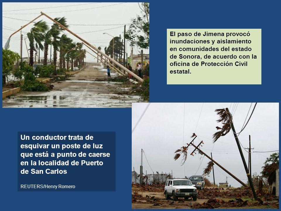 El paso de Jimena provocó inundaciones y aislamiento en comunidades del estado de Sonora, de acuerdo con la oficina de Protección Civil estatal.
