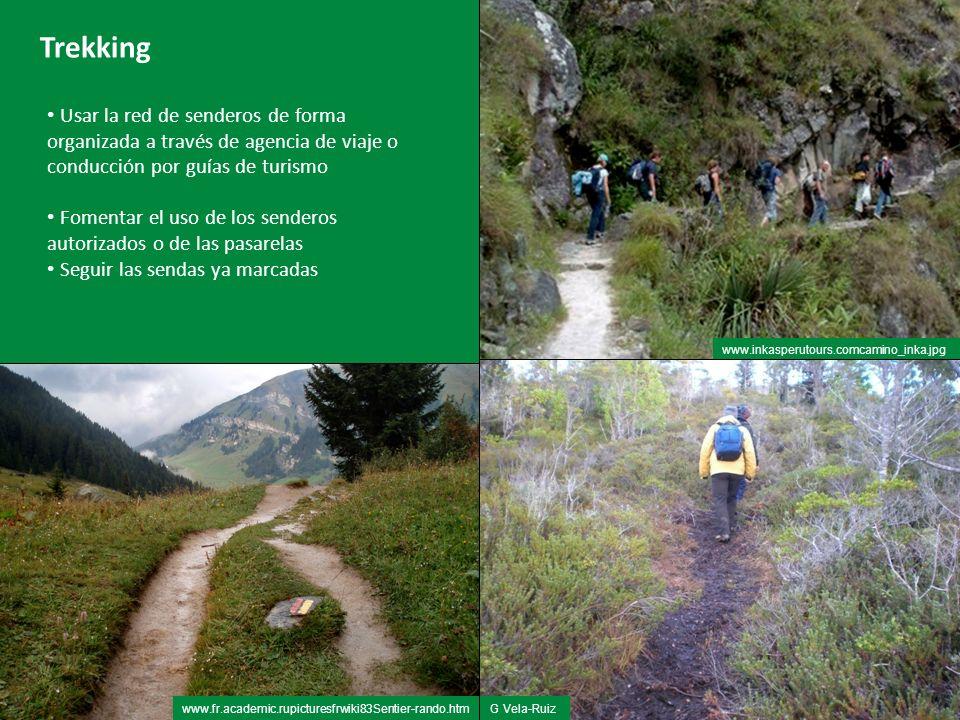 Trekking Usar la red de senderos de forma organizada a través de agencia de viaje o conducción por guías de turismo.