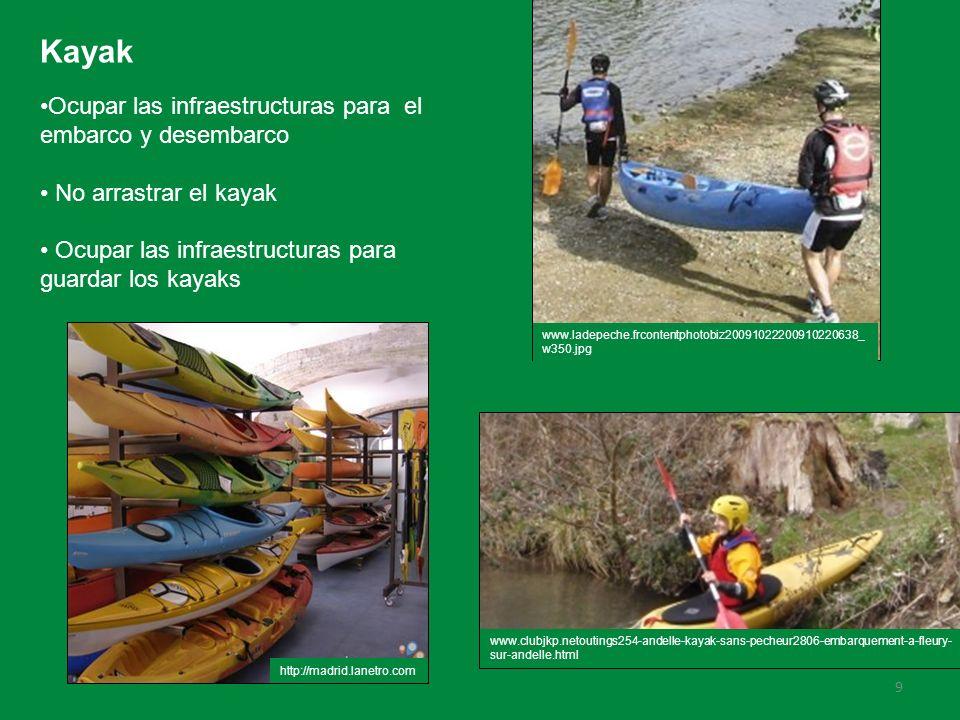 Kayak Ocupar las infraestructuras para el embarco y desembarco