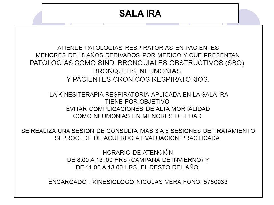 SALA IRA PATOLOGÍAS COMO SIND. BRONQUIALES OBSTRUCTIVOS (SBO)