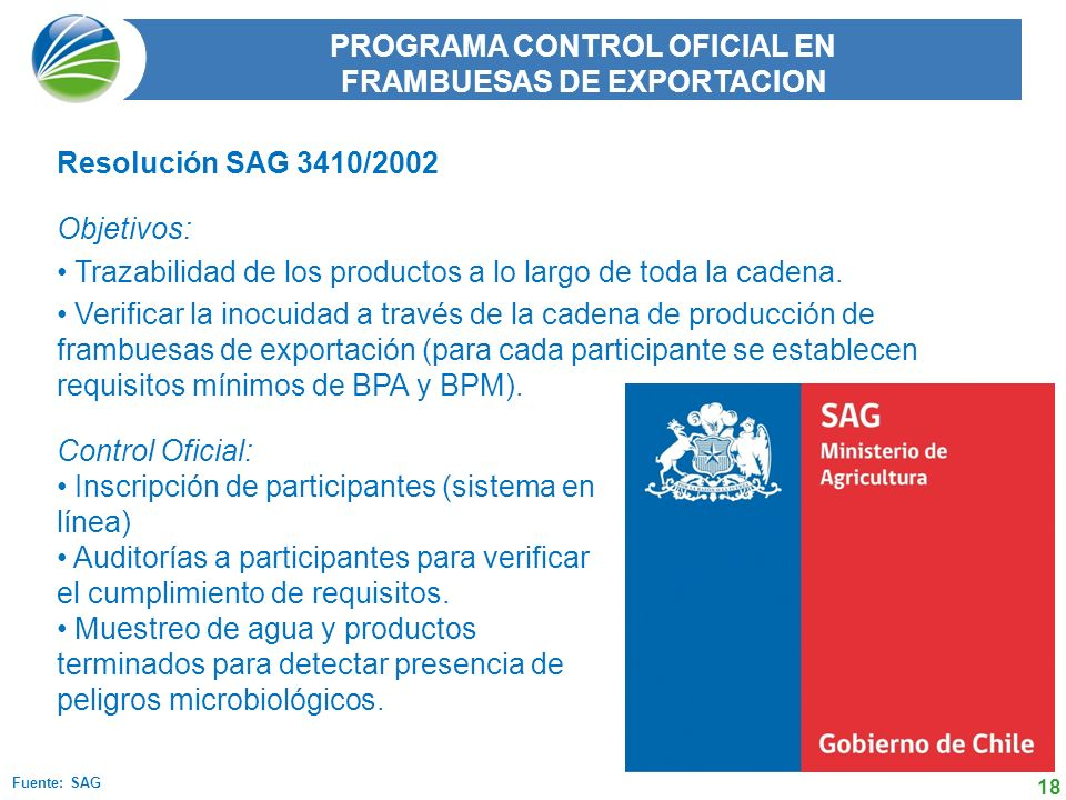 PROGRAMA CONTROL OFICIAL EN FRAMBUESAS DE EXPORTACION