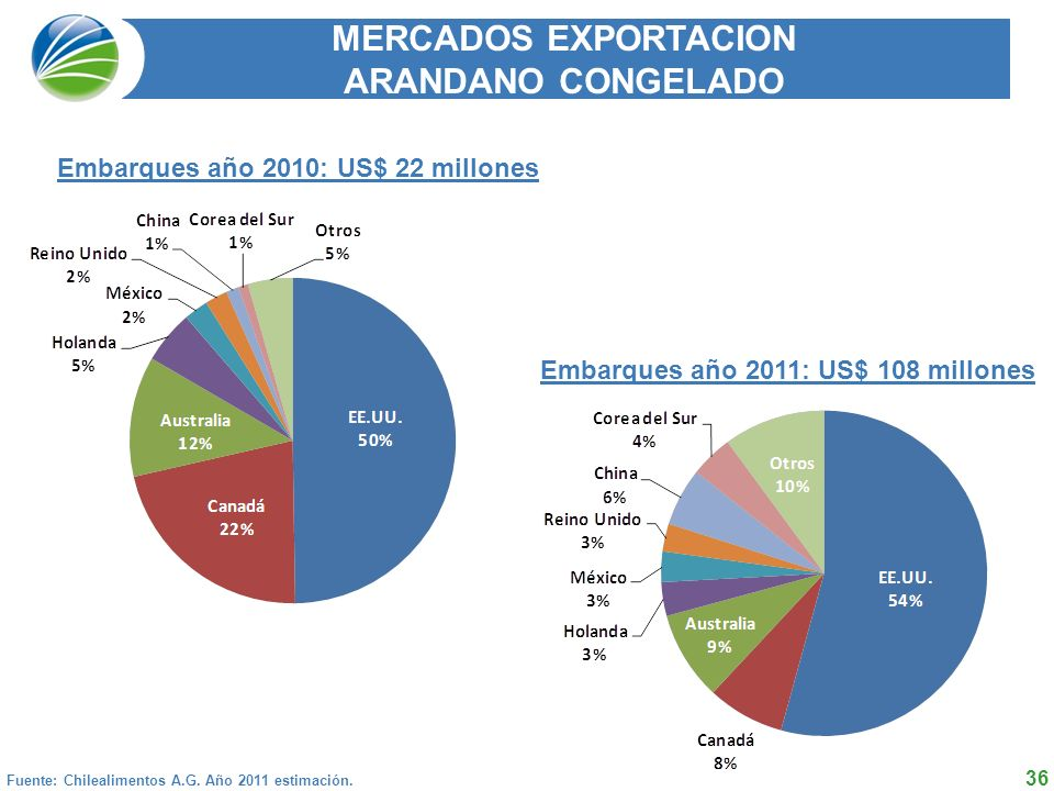 MERCADOS EXPORTACION ARANDANO CONGELADO