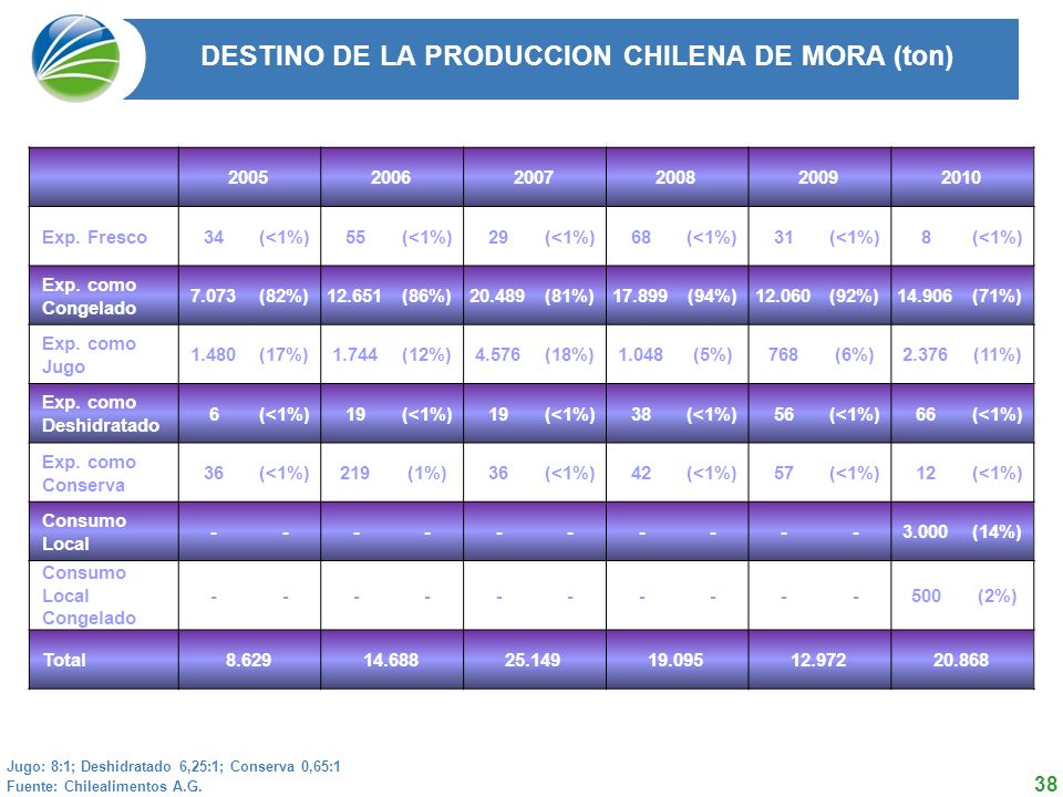 DESTINO DE LA PRODUCCION CHILENA DE MORA (ton)