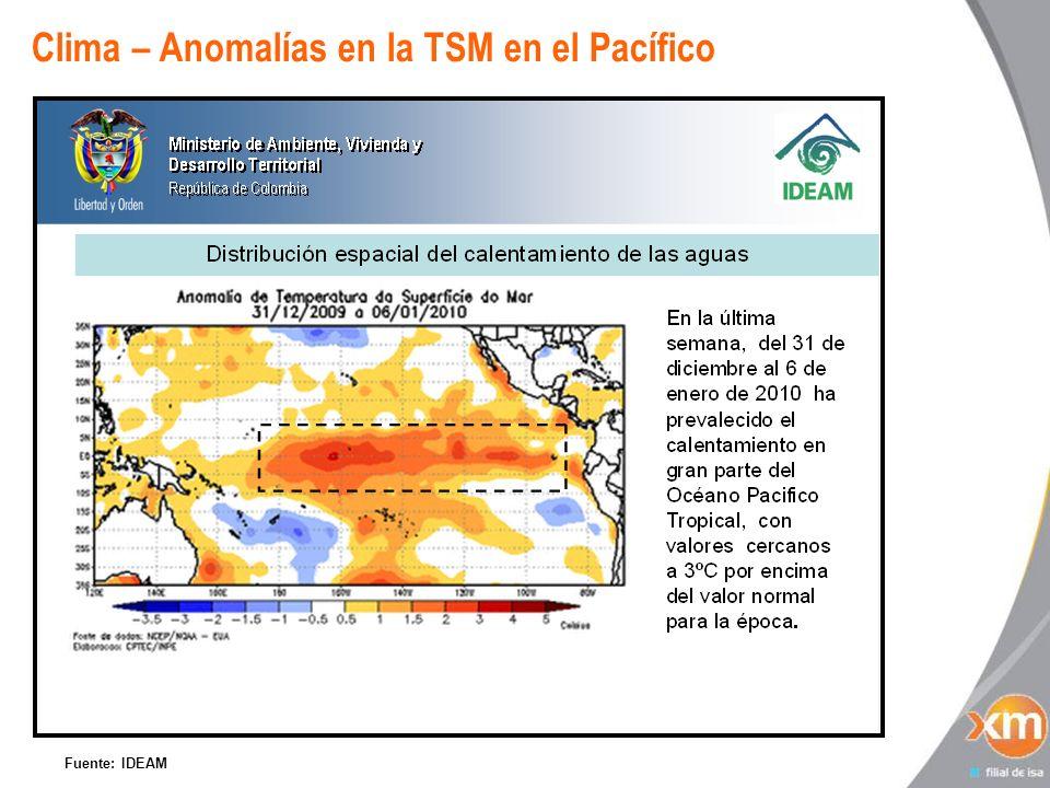 Clima – Anomalías en la TSM en el Pacífico