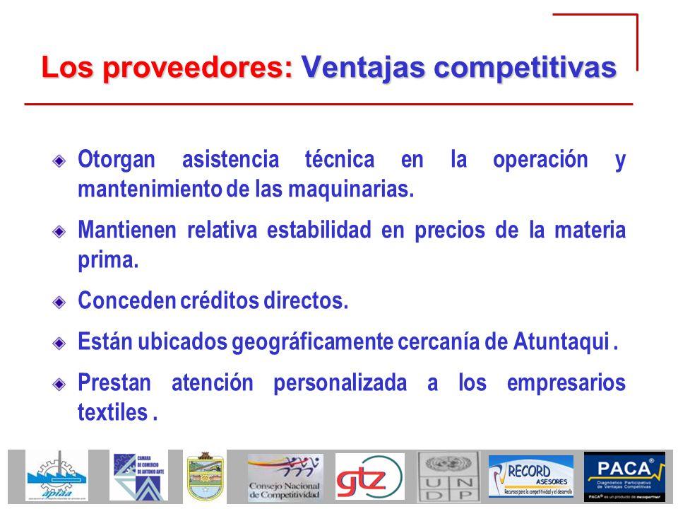 Los proveedores: Ventajas competitivas