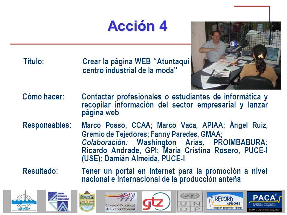 Acción 4 Título: Crear la página WEB Atuntaqui centro industrial de la moda