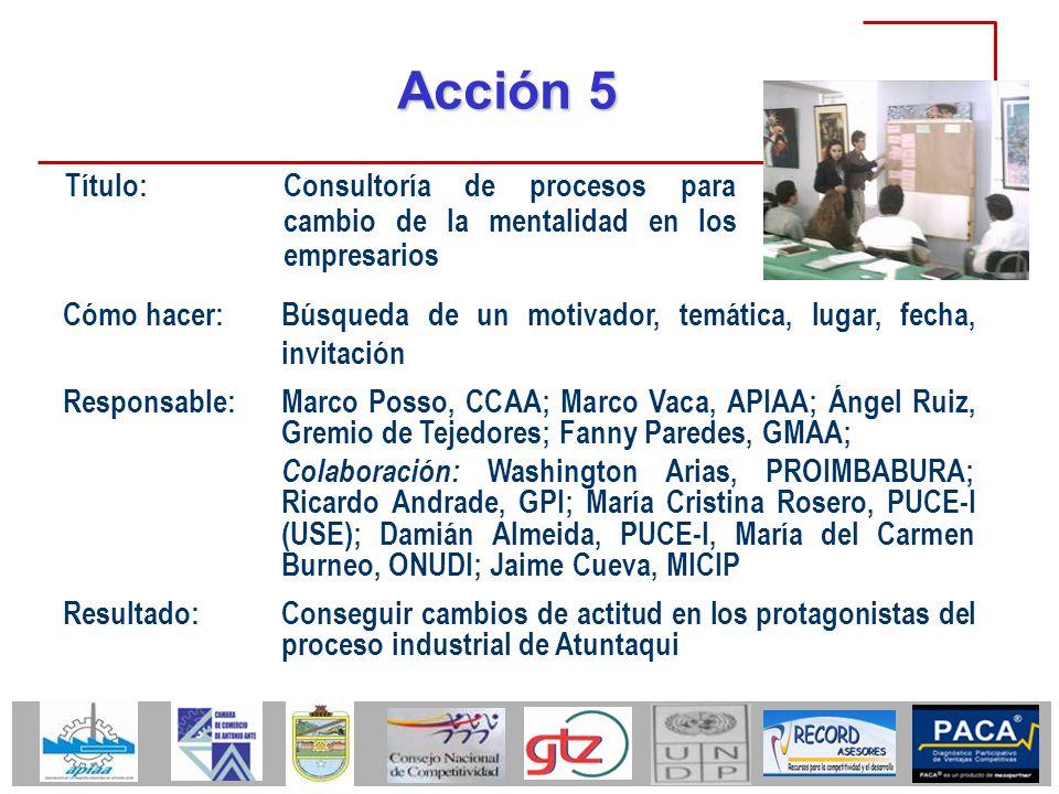 Acción 5 Título: Consultoría de procesos para cambio de la mentalidad en los empresarios.