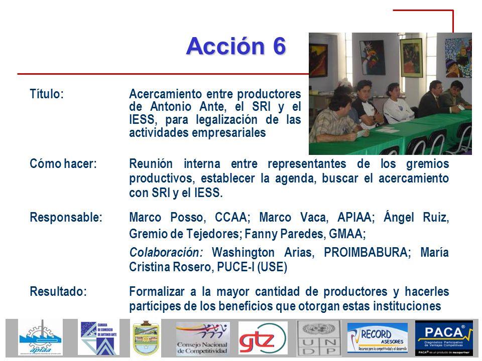 Acción 6 Título: Acercamiento entre productores de Antonio Ante, el SRI y el IESS, para legalización de las actividades empresariales.