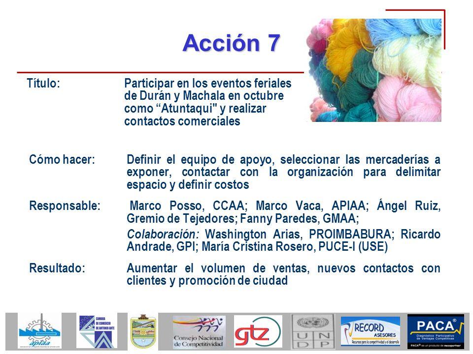 Acción 7 Título: Participar en los eventos feriales de Durán y Machala en octubre como Atuntaqui y realizar contactos comerciales.