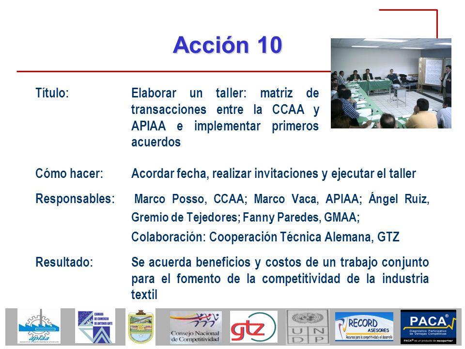 Acción 10 Título: Elaborar un taller: matriz de transacciones entre la CCAA y APIAA e implementar primeros acuerdos.