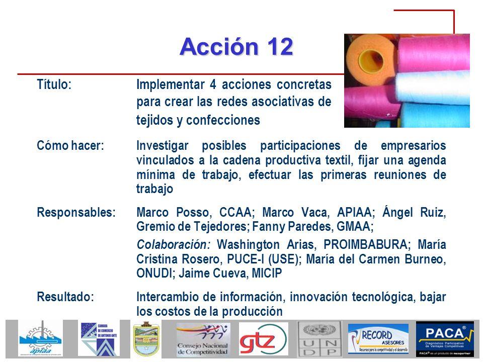 Acción 12 Título: Implementar 4 acciones concretas para crear las redes asociativas de tejidos y confecciones.