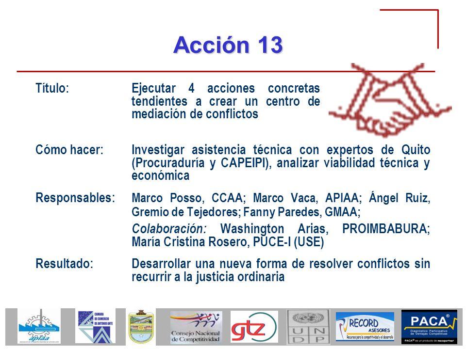 Acción 13 Título: Ejecutar 4 acciones concretas tendientes a crear un centro de mediación de conflictos.