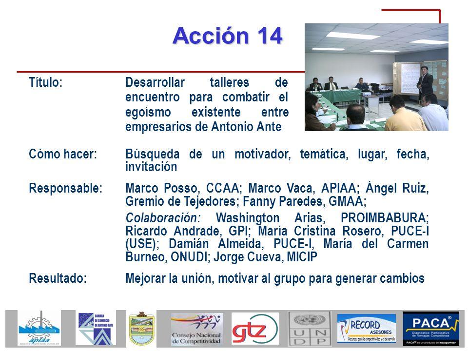 Acción 14 Título: Desarrollar talleres de encuentro para combatir el egoísmo existente entre empresarios de Antonio Ante.